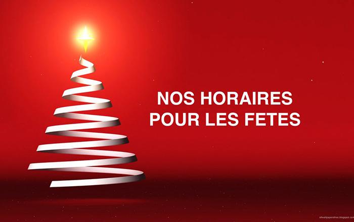 Nouveaux horaires pour les fêtes de fin d'année