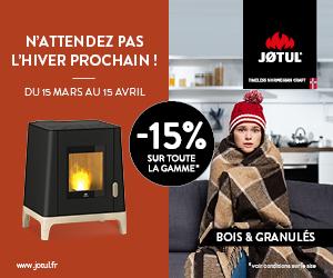 Remises sur l'ensemble de la gamme JOTUL – Du 15 Mars au 15 Avril 2021